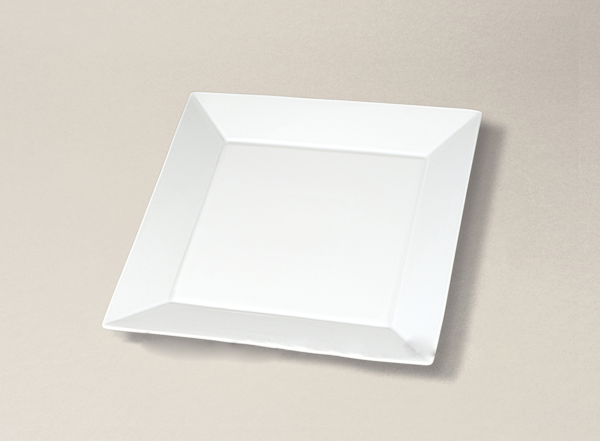assiette carrée plate 19x19 Kyoto en porcelaine décorée