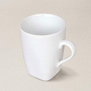 tasse à café carrée Quadra, porcelaine, décorée