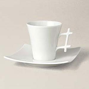tasse à café Oxygène, porcelaine, décorée
