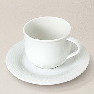tasse moka avec soucoupe en porcelaine blanche Abba
